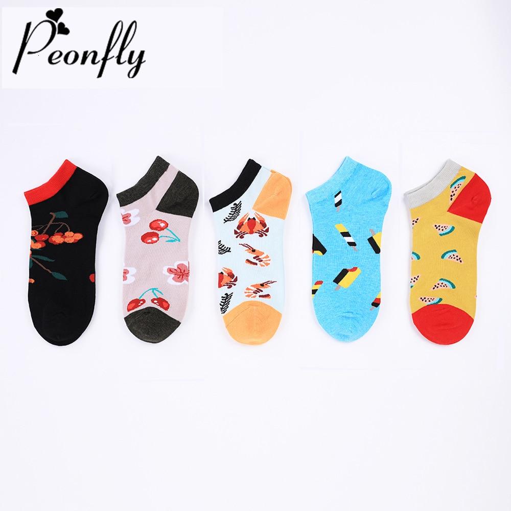 PEONFLY New 2020 Autumn Winter Happy Ankle Socks Men Cartoon Lobster Cherry Pattern Sokken Funny Cotton Socks Novelty Boat Socks