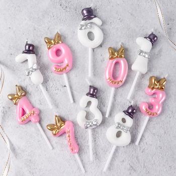 Cakelove 1 sztuk 0-9 numer świeczka tortowa materiały urodzinowe ozdoba na wierzch tortu rocznica cyfry na tort wiek świeca dekoracje świąteczne tanie i dobre opinie Urodziny Ogólne świeca Parafina