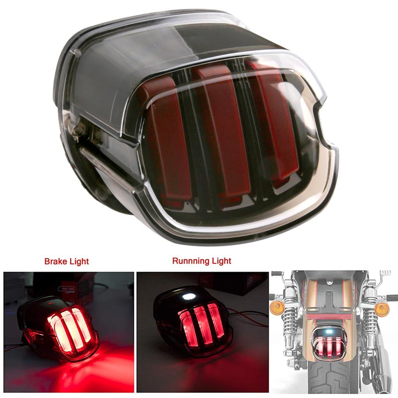 Motorcycle LED Tail Light Smoke Lens Brake License Plate Lamp Rear Stop 12v For Harley Dyna Road King Softail Touring