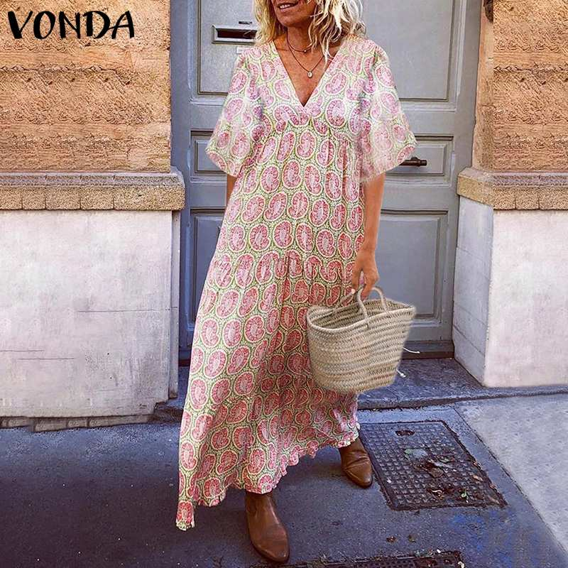 Summer <font><b>Dress</b></font> <font><b>Women</b></font> Sundress Bohemian Print Long Maxi <font><b>Dress</b></font> <font><b>2019</b></font> VONDA Female Vintage Robe <font><b>Sexy</b></font> V Neck Party Vestidos Plus Size image