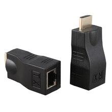 4K 3D HDMI 1.4 30M Extender to RJ45 Over Cat 5e/6 Network LAN Ethernet Adapter hdmi extender transmitter tx rx adapter 30m hdmi network extender rj45 cat5e cat6 ethernet lan without hdcp