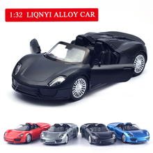 1:32 5 inch High Simulation Toy Vehicles Diecaste Metal Alloy Car For Porsche 918 Spyder Model Matte Black Kids