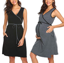 Maternity Nursing Pajamas Nightgown Breastfeeding Dress Pajamas Pregnant Women Nightwear Sleeveless Breast Feeding Sleepwear