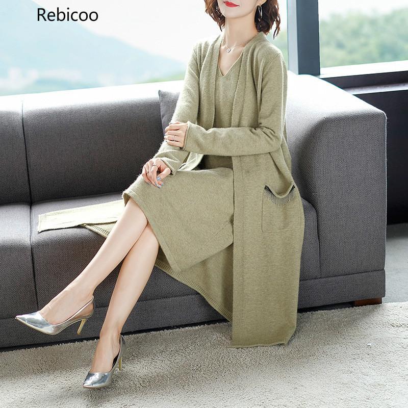 Automne mode tendance nouveau modèle Vintage col en V tricoté ample et mince sauvage longue deux pièces femmes la robe