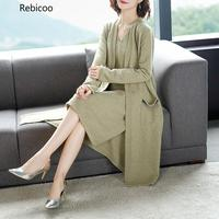 Autumn Fashion Trend New Pattern Vintage V Collar Knitted Loose And Slim Wild Long Two piece Women The Dress