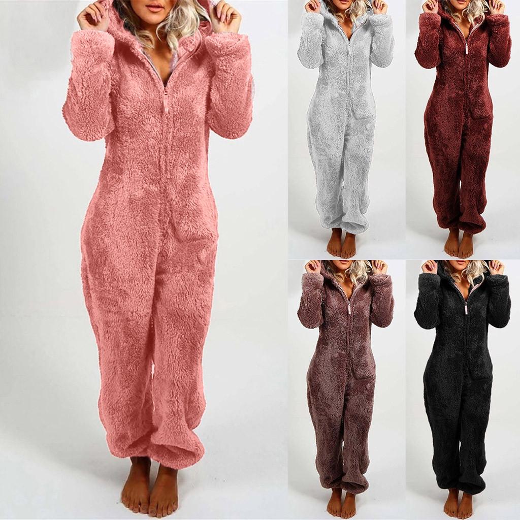 Women Casual Hooded Warm Plush Bodysuit Winter Zipper Playsuits Homewear Sleepwear Women's Pajamas Long Sleeve jumpsuit trousers