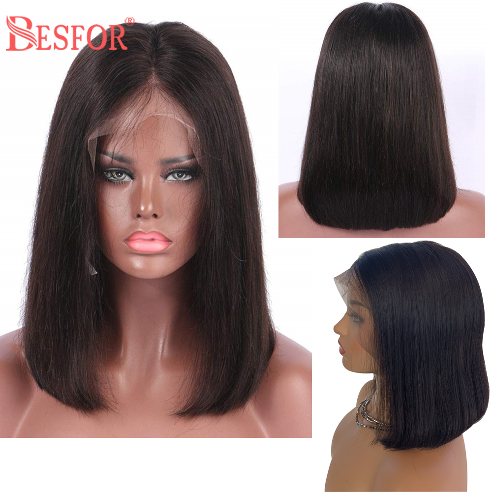 BESFOR Bob Human Hair Wig Short Cut 13×6 Lace Front Wigs 150% Density  Natural Hairline Black Half Hand Made Lace Frontal Wigs
