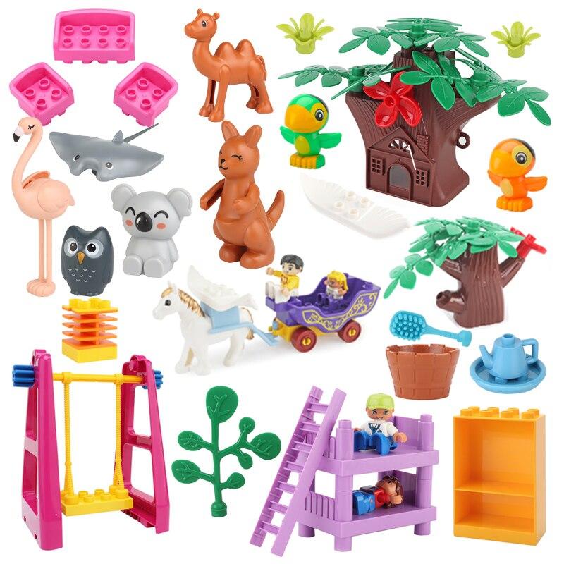 Новые оригинальные большие строительные блоки, аксессуары, инновационный зоопарк, животные, модель мебели, совместимые блоки, детские разв...