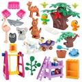 Neue Original Große Bausteine Zubehör Innovation Zoo Tiere Möbel Modell Kompatibel Ziegel Kinder Bildung Spielzeug Geschenke