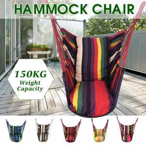 Portable Hammock Seat Chair Hanging-Rope Garden 2-Pillows Outdoor with for Swings