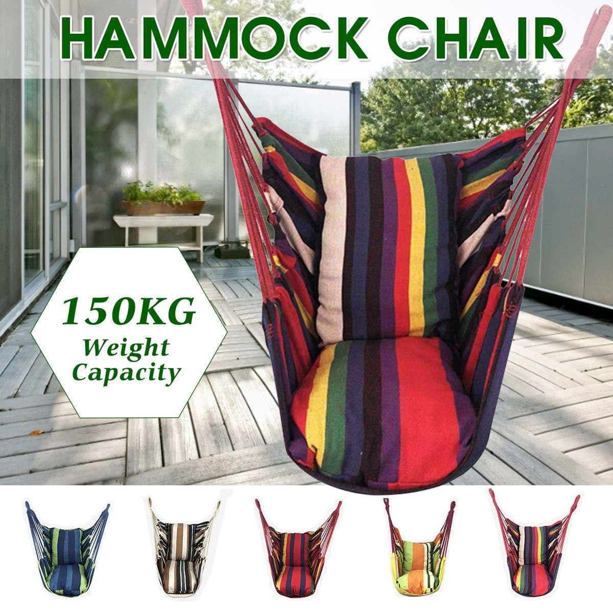 แบบพกพาเก้าอี้ Hammock แขวนเก้าอี้เชือก Swing เก้าอี้ที่นั่ง 2 หมอนสำหรับสวนในร่มกลางแจ้งแฟชั่นชิง...