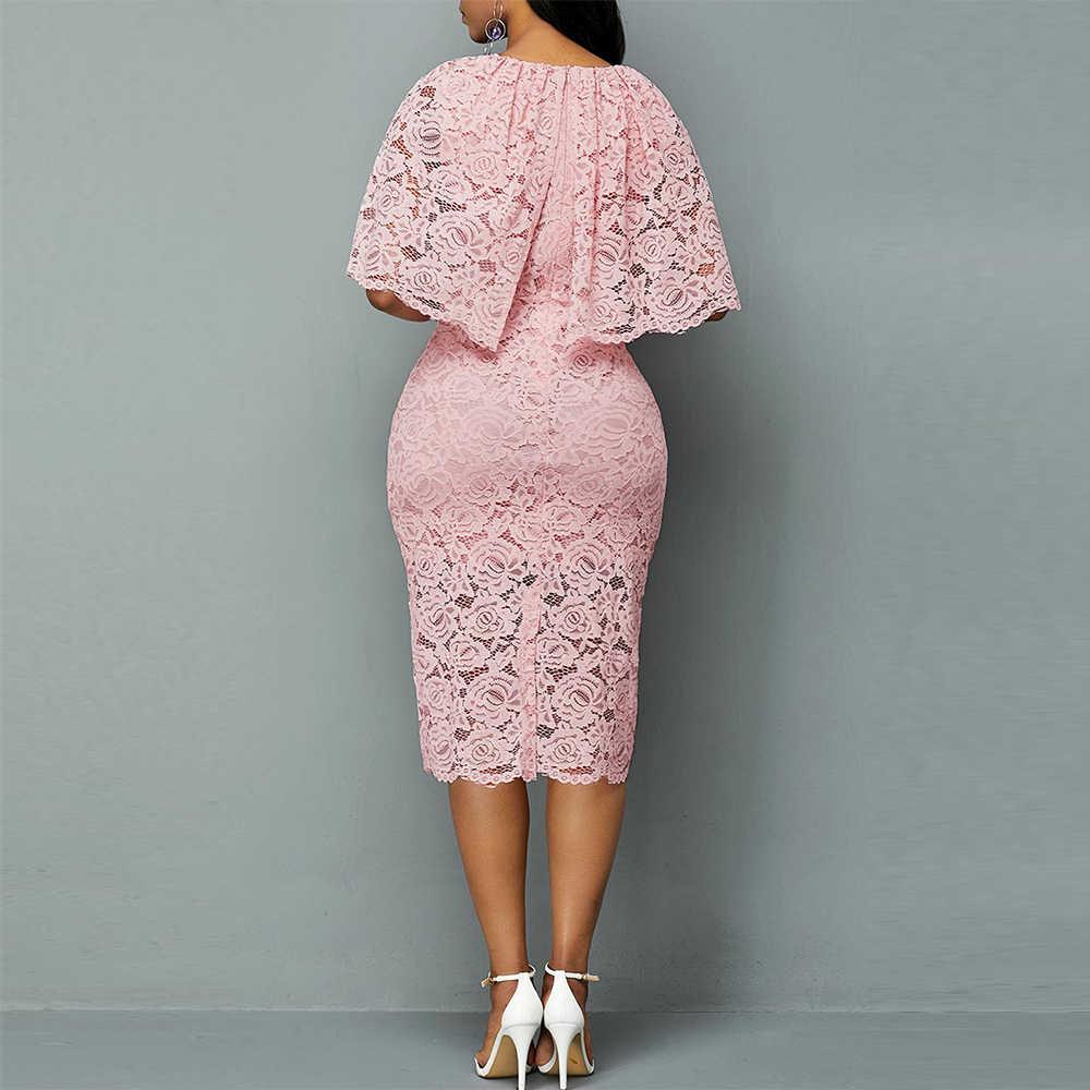 Hollow Out Lace Vrouwen Jurk Herfst 2020 Elegante Sexy Split Party Dress Casual Plus Size Slim Solid Office Potlood Bodycon dresse