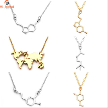 New Serotonin Pendant Molecular Dopamine Necklace World Map Mountain necklace ladies decorative pendant