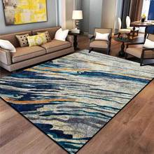 Alfombras de diseño moderno y alfombra para el hogar sala de estar pintura al óleo abstracta Vintage arte azul amarillo gris raya textura alfombra