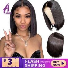 13X4 prosto Bob koronki przodu peruki PrePlucked bielone węzłów krótkie proste włosy ludzkie koronki przodu peruki indie Remy peruka dla kobiet