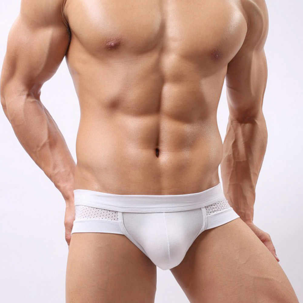Men Cotton Underwear Sexy Briefs Breathable Mens Slip shorts Male Panties Underpants Briefs 3 colors soft cotton briefs#D