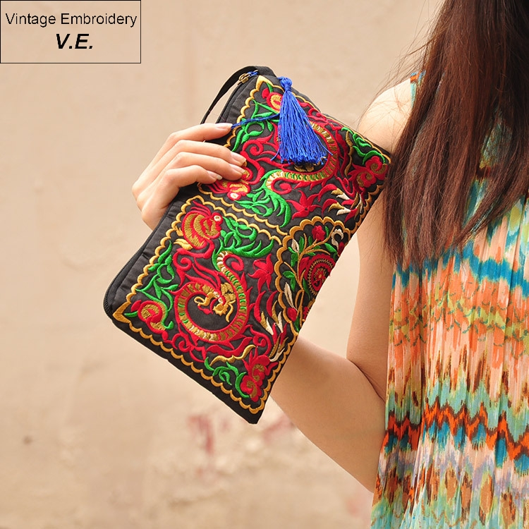 Vintage Embroidery Women Wallet Clutch Female Folk-custom Storage Coin Purse Clutches Casual For Women Top-handle Bags