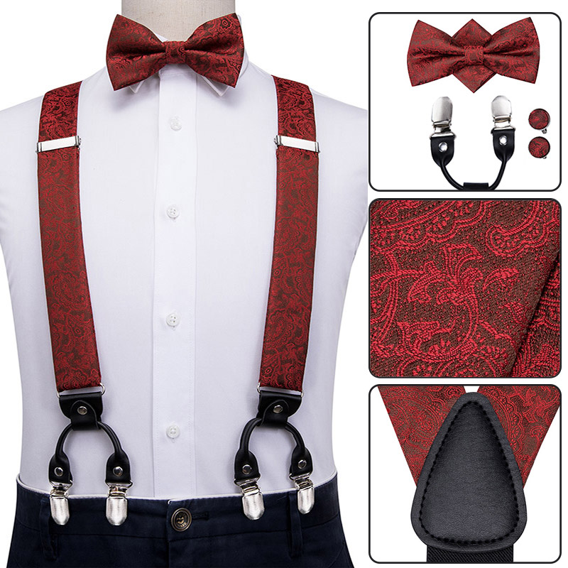 BD-3025 Hi-Tie Men's Silk Suspenders Bow Tie Set Luxury Red Floral Suspenders For Men Elastic 6 Metal Clips Suspender Braces