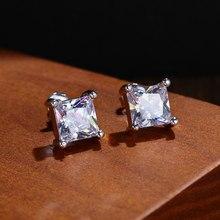 1 par novo branco quadrado orelha do parafuso prisioneiro brilhante zircon brincos mulheres homens casamento noivado moda jóias presentes