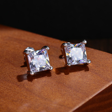 Zircon Earrings Ear-Stud Square Wedding-Engagement White Women Gifts Fashion Jewelry