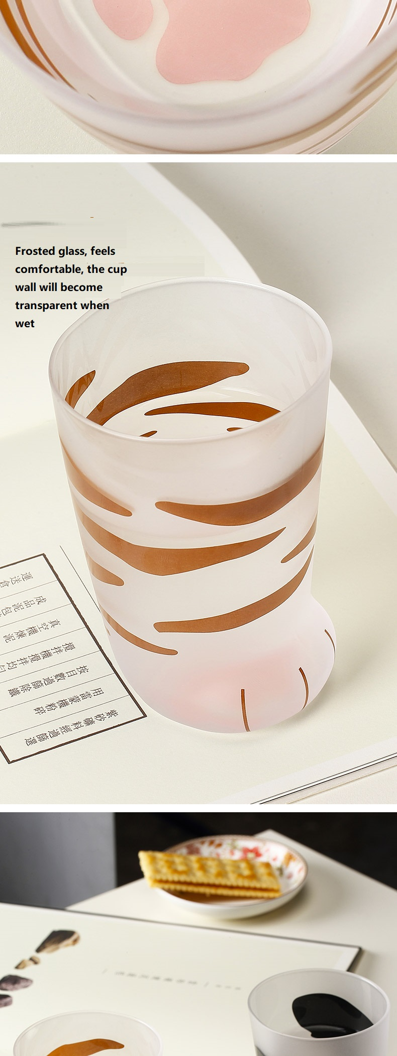 Hb8cfe15f5bbe401a8df8eae19fd162acM - 350ml Mug Heat-resistant Glass Cat Cup Tiger Paws Office Matte Cat Paws Creative Milk Coffee Cup Cute Children Drink Bottle