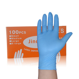 Image 1 - 100 Pieces Boxed Disposable Gloves Blue Nitrile Latex Catering Waterproof Housework Outgoing Protective Nitrile Rubber Gloves