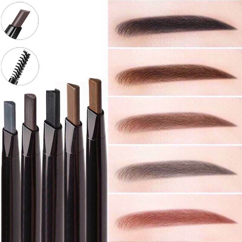 New 4 Color Eyebrow Pencil Natural Waterproof Rotating Automatic Eyeliner Eye Brow Pencil With Brush Beauty Cosmetic Tool