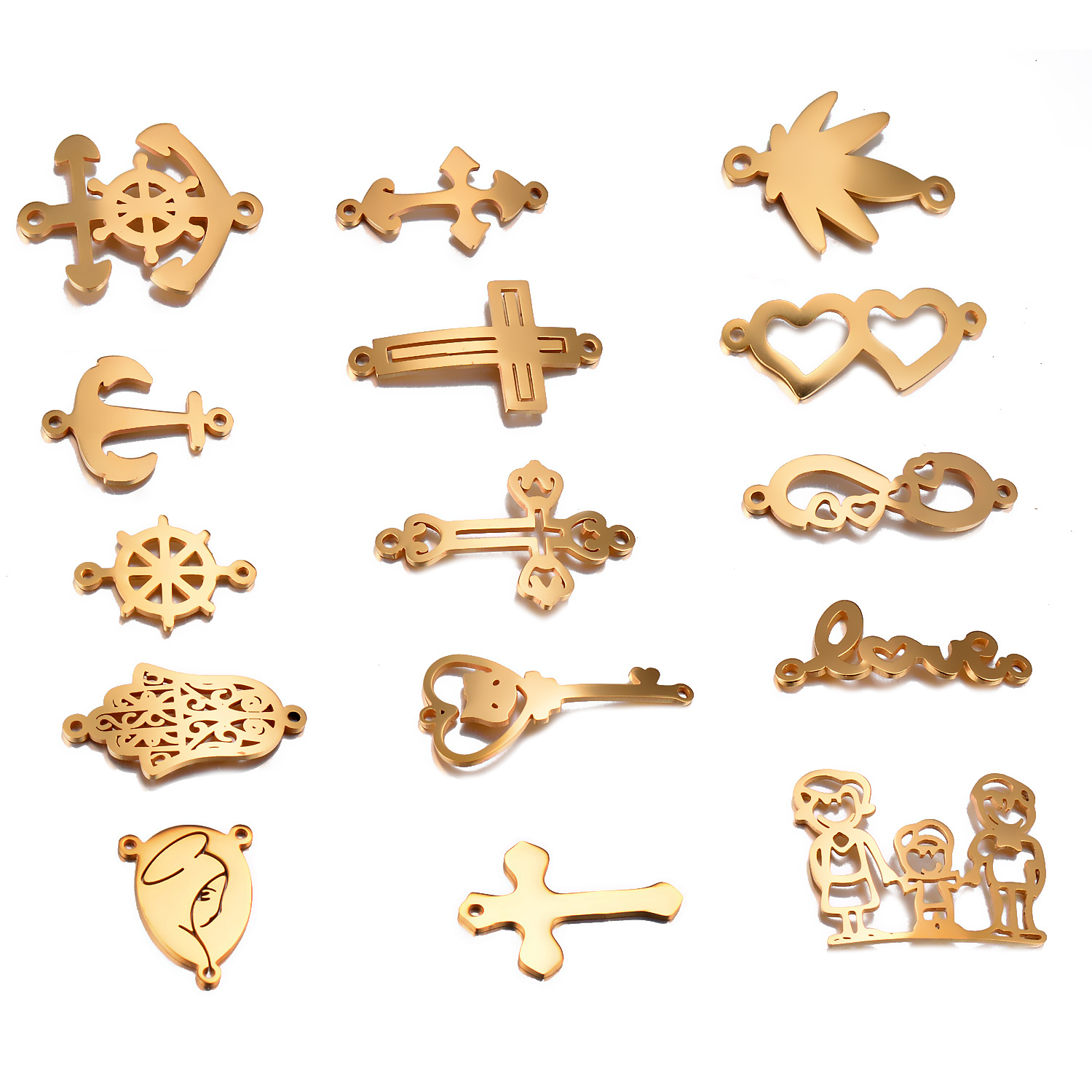 3pcs Stainless Steel Bracelet Charms Gold DIY Cross,Heart,Love,Hamsa Hand Accessory Finding Not Turn Off Color,Hypoallergenic