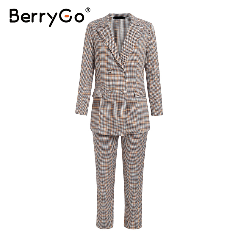 Hb8d02f6de2ab42f1a515d23f6ead9df0D - BerryGo Womens business suit plaid pant suits female Office ladies double breasted ladies suits Spring two-piece blazer suit set