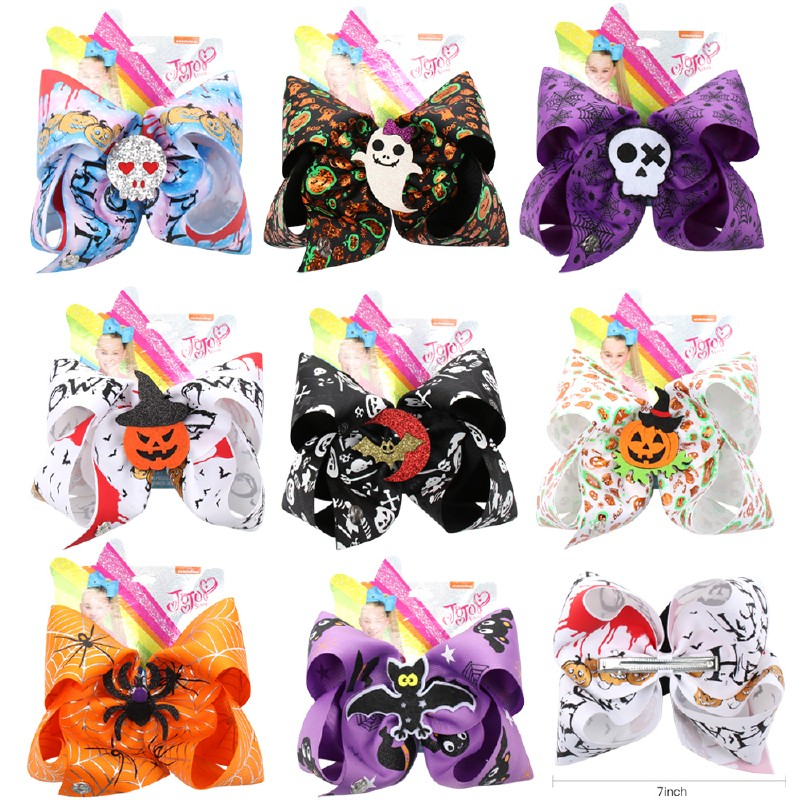 7'' Large Hair Bows for Girls Funny Halloween Printed Ribbon Bowknot Glitter Skull Pumpkin jojo Bows Party Kids   Headwear