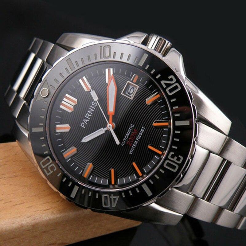 Parnis Automatische Diver Horloge Waterdicht 200 M Metalen Mechanische Mannen Horloges Saffier Glas Lichtgevende
