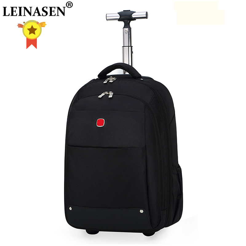 LEINASEN Oxford Shoulder Travel Bags Multifunction Men Business Computer Suitcase Wheels 18 Inch Hand Carry On Rolling Luggage