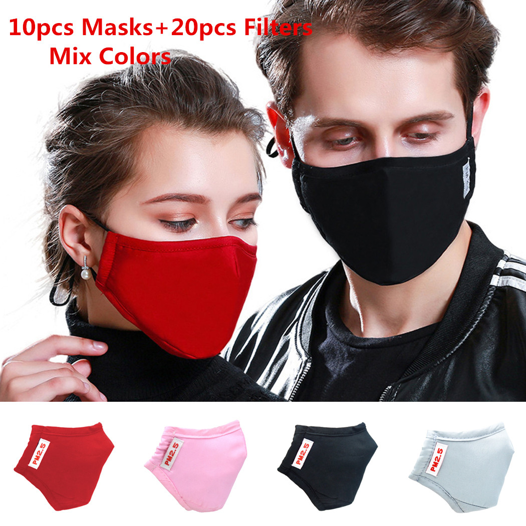 10pcs Mouth Face Masks With 20pcs Activated Carbon Filter Cotton Reusable Mask Adult Unisex Breathable Washable PM2.5 Mouth Mask