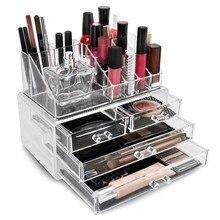 Desktop Makeup Organizer Jewelry Cosmetic Drawer Storage Box Transparent Holder
