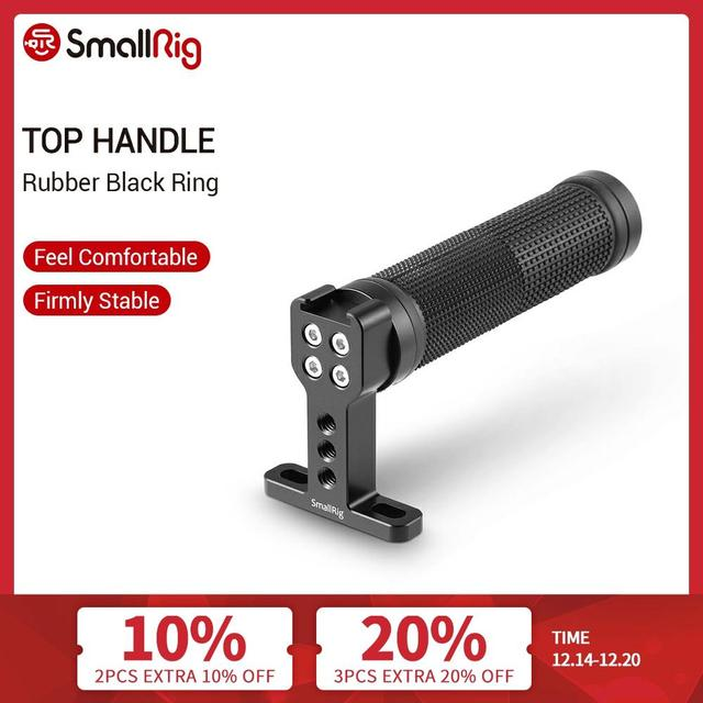 SmallRig Top Handle Non slip Handle Grip with Cold Shoe Base for DSLR Camera Cage Monitor Stabilizing Camera Grip Handle   1447
