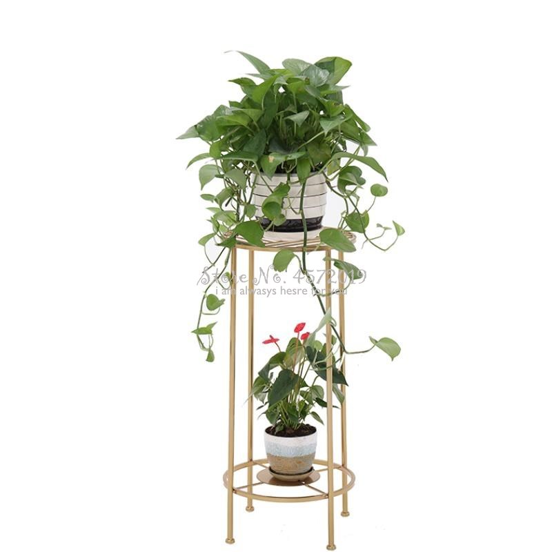 Wrought Iron Golden Mini Floor Pot Rack Living Room Balcony Indoor Flower Stand Ins More Meat Green Loll Simple Flower Stand