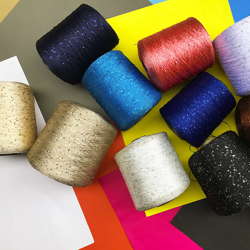 Image 5 - Quality New 540 g natural silk colorful unique sequins knitting  yarn skein cashmere crochet yarn for knitting knit thread X3048Yarn