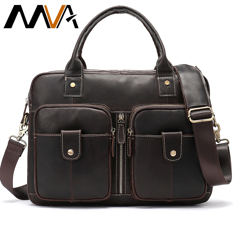 MVA Genuine Leather Bag Men's Brisfcase/Office Bags For Men Handbags Business Messenger Bag Men Leather Laptop Bags Man 8539