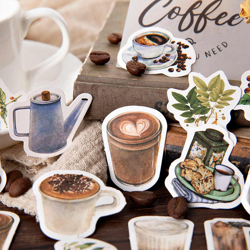 40Pcs/Pack Rooftop Cafe Stationery Stickers Doodling Travel DIY Sticker Car Motorcycle Luggage Laptop Bike Scooter Toys