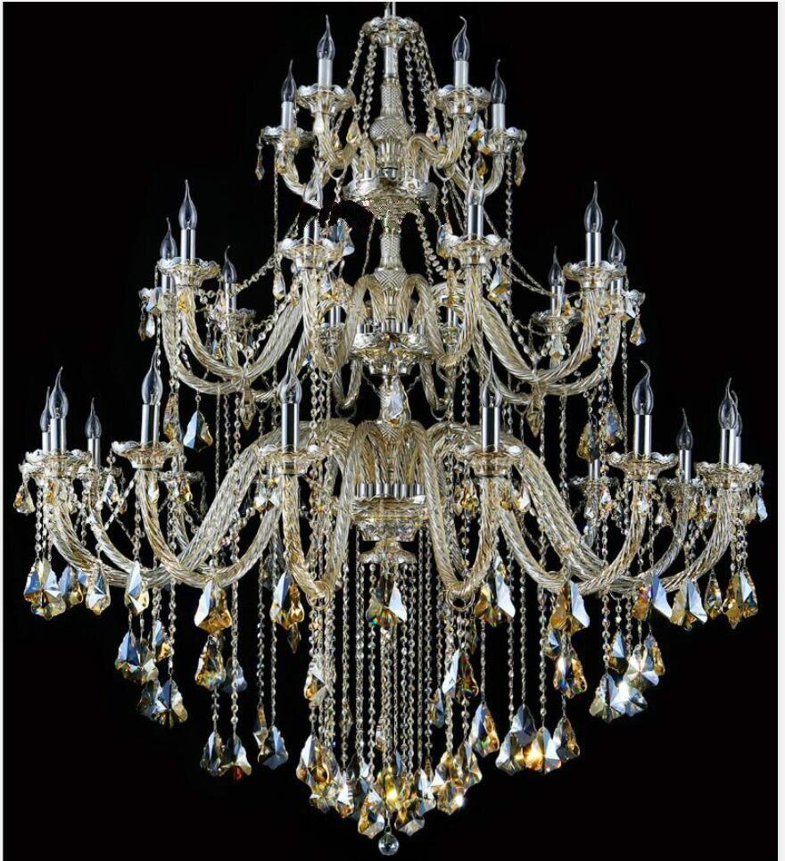 Gratis Pengiriman Modern Chandelier Besar Cognac Lampu Kristal Untuk - Pencahayaan dalam ruangan - Foto 4