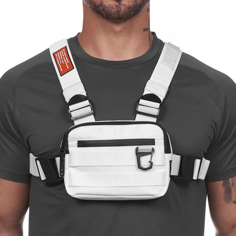 Street Style Military Chest Rig Bag For Men White Hip Hop Functional Waist Packs Adjustable Vest Waistcoat Fashion Chest Bags