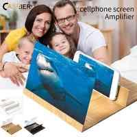 CASEIER amplificador de pantalla 3D 12 pulgadas Original grano de madera teléfono móvil soporte de pantalla amplificador para teléfono móvil aumento
