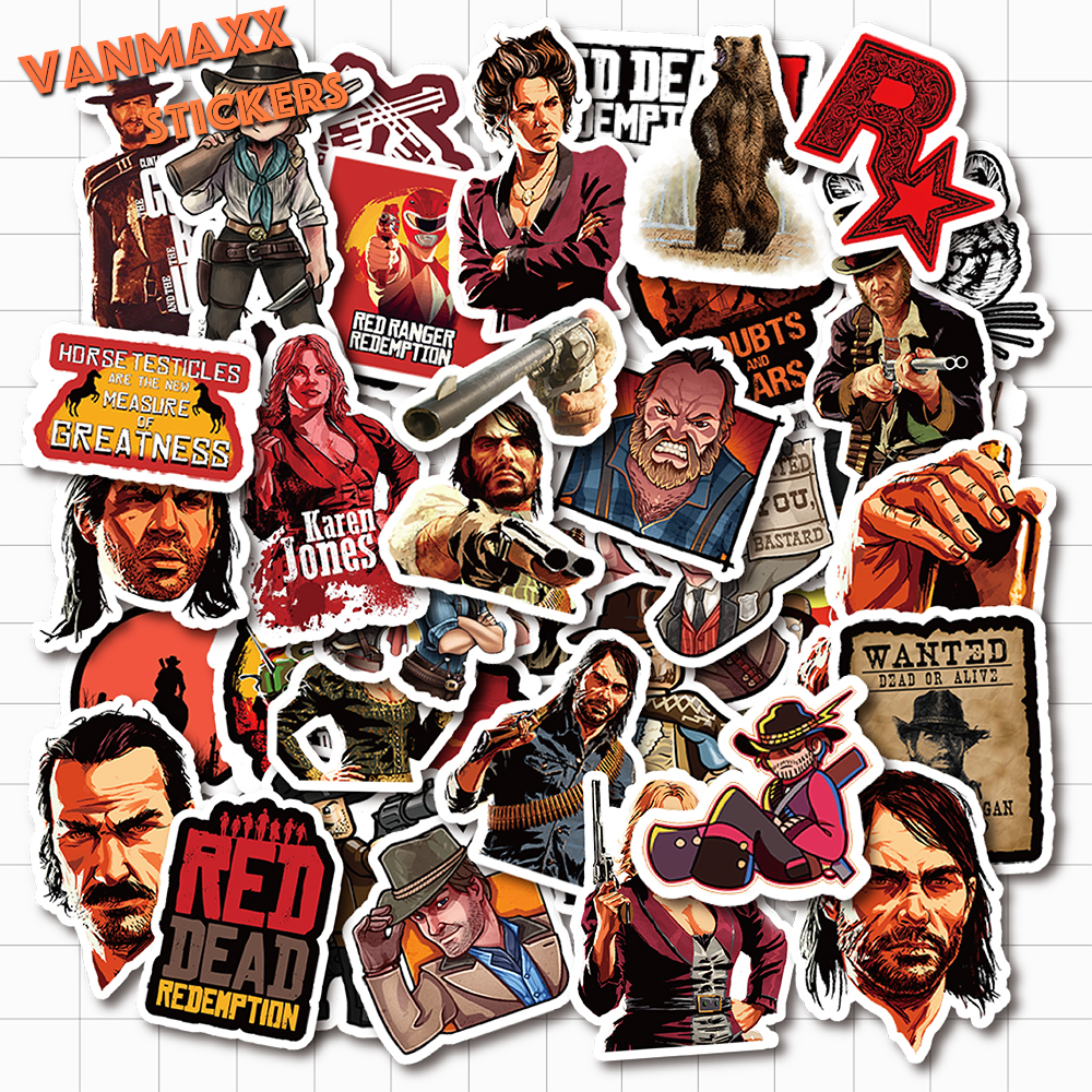 VANMAXX 50 PCS RDR2 Adventure Game Graffiti Stickers Waterproof PVC Decal For Laptop Water Bottle Helmet Bicycle Luggage Car