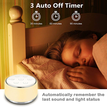 White Noise Sound Machine USB Rechargeable Timing Sleep & Shutdown Therapy for Babyroom Bedroom Office Portable Carry