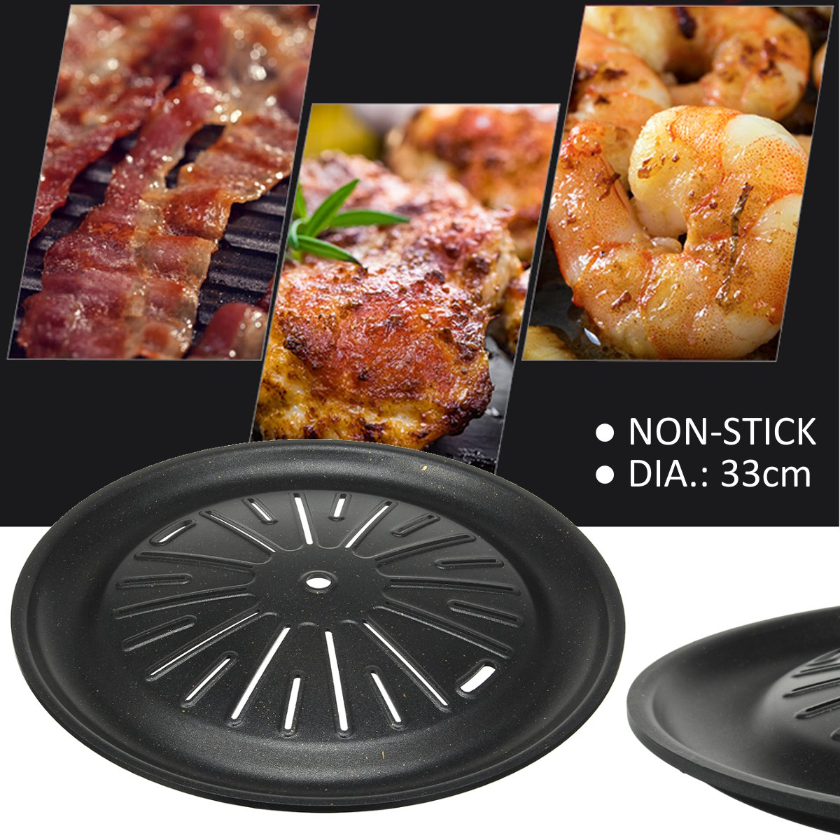 33cm Korean BBQ Grill Pan Outdoor Barbecue Plate Round Aluminum Plate Picnic Non-stick Pan Camping BBQ Cooking Tools 13 Inch