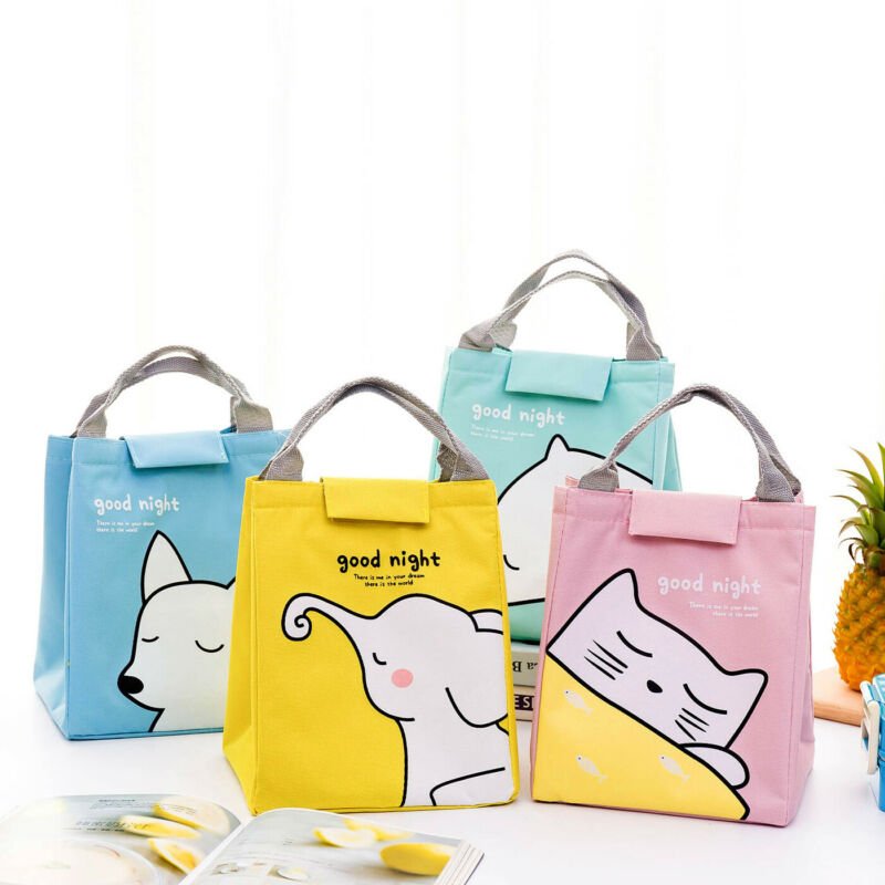 CANIS Women Men Adult Travel Portable Oxford Thermal Insulated Lunch Bag Picnic Lunch Box Tote School Fox Sheep Cat Bags Gift