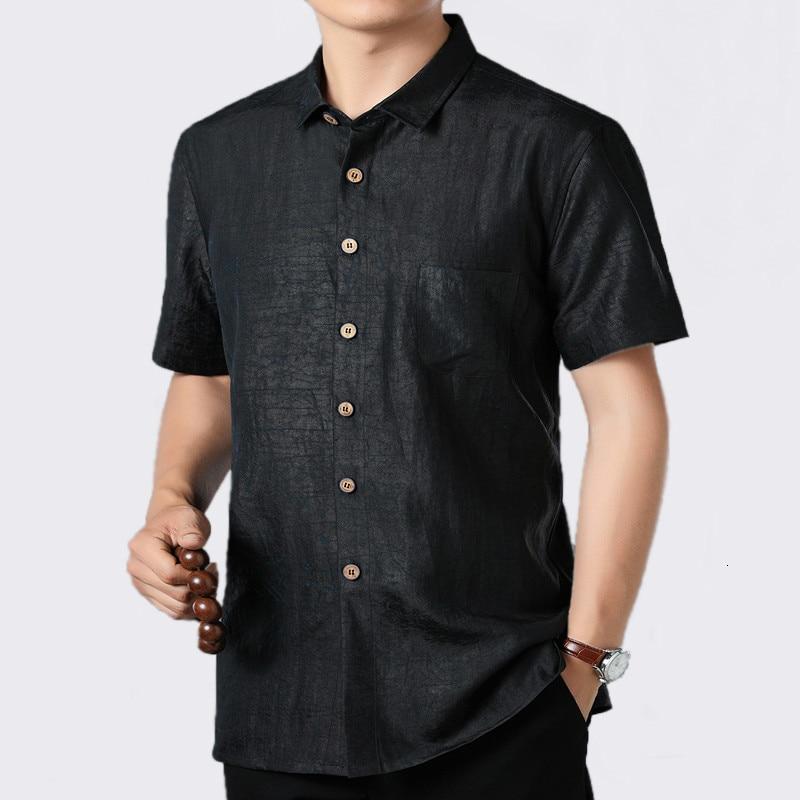 2020 Summer 100%Silk Men Shirt Short Sleeve Casual Shirt Male Social Loose Man Shirts High Quality Camisas Hombre 8026 KJ1949