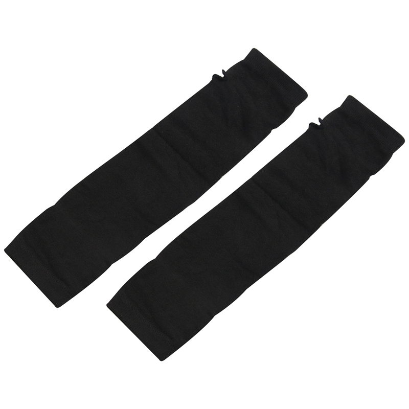 2 Set Fashion Women Lady Girls' Stretchy Soft Arm Warmer Long Sleeve Fingerless Gloves - Black White Stripe & Black