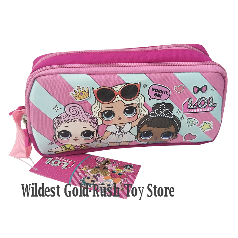Original Lol Surprise Dolls Pencil Case Double-layer Large Cartoon Bag Unisex Child Student School Supplies 10*20*7cm