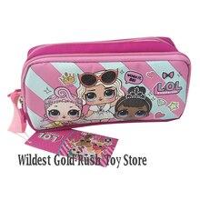 Original lol surprise dolls caja de lápices de doble capa bolsa de dibujos animados grande Unisex niño estudiante escuela suministros 10*20*7cm